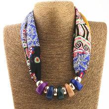 Silk Scarf Necklace resin beads Neckerchief Scarves Women Printed Silk Muffler 2017 New Brand Designer Scarfs Jewelry Bijoux(China (Mainland))