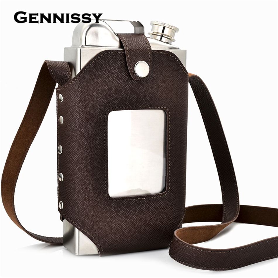 GENNISSY 35oz Big Hip Flask with Super Good Quality Leather Holster Large Capacity Stainless Steel Steel Hip Flasks(China (Mainland))
