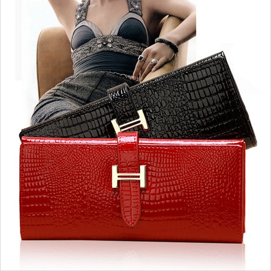 2015 Top & Solid Genuine Leather Top Quality Women Wallet Genuine Leather Wallets Croco Cow Clutch Change Purse with Gift Box(China (Mainland))