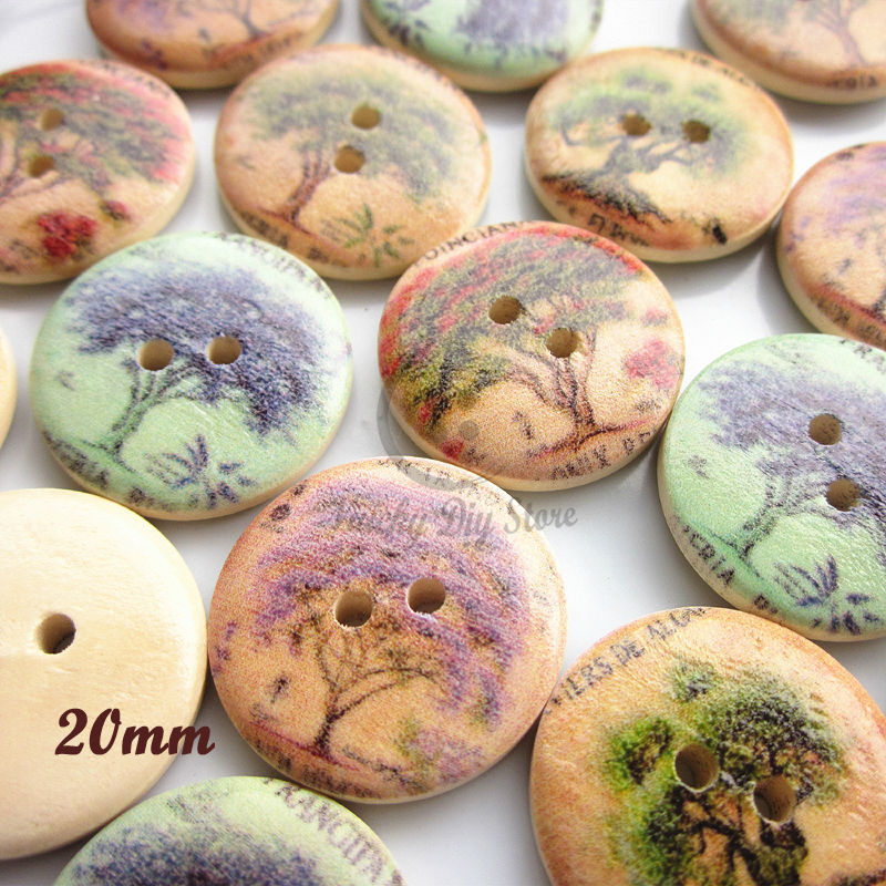 144pcs mixed tree patterns 20mm wood buttons for clothes / home decor / craft / scrapbooking / sewing accessories(China (Mainland))