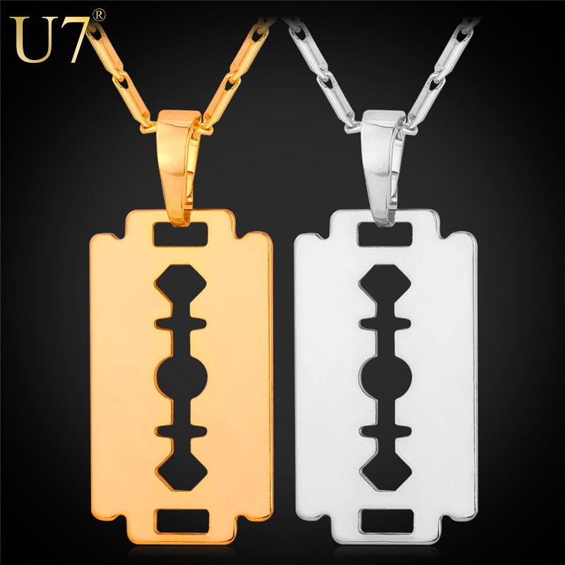 U7 New Trendy Gold Razor Blade Necklace Men Jewelry 18K Gold/Platinum Plated Razor Pendant Necklace Valentines Gift For Men P559(China (Mainland))