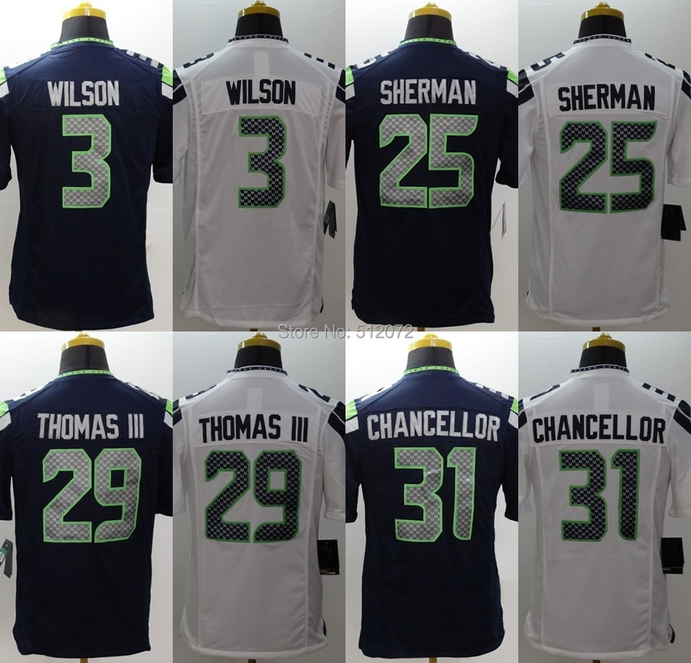 Seattle Men's Authentic Game #3 Russell Wilson #25 Richard Sherman #29 Earl Thomas III #31 Kam Chancellor Football Jersey(China (Mainland))