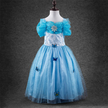 Children's Cinderella Princess Bitter Fleabane Gauze Condole Girls Dress Wedding Party Special Occasion Kids Clothing Blue