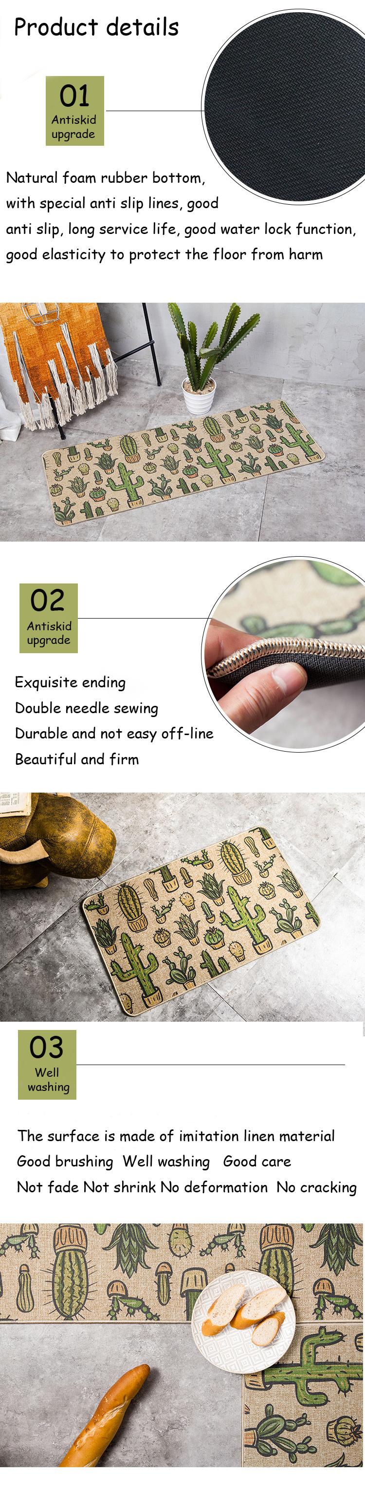 Natural Rubber Back Cactus Kitchen Rug Sets Mat Oil Proof Waterproof ...