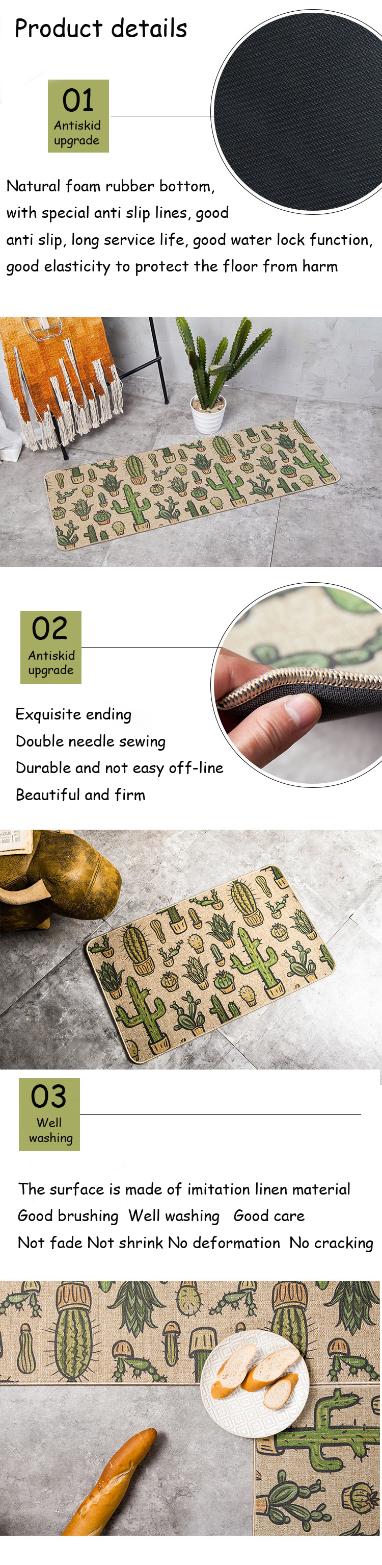 Natural Rubber Back Cactus Kitchen Rug Sets Mat Oil Proof Waterproof Anti  Pollution Non Skid Imitation Linen Cloth Design Carpet   Us518