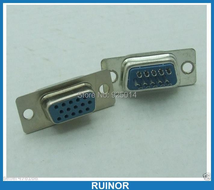 10 PCS 3 Row 15 Pin D-SUB Chassis Solder Socket Female Serial Port VGA Connector(China (Mainland))