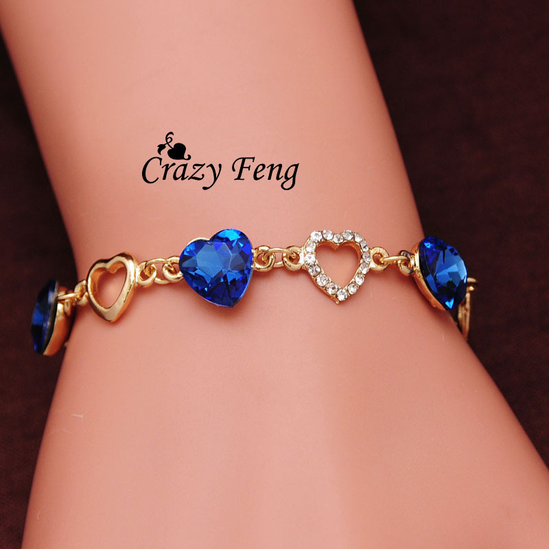 Free shipping Charm Bracelet 18k Gold Plated Chain Link Crystal Chain Heart Lover Bracelets Bangles For Women Jewelry Gift(China (Mainland))