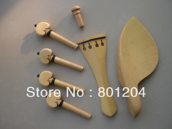 SFF010 Boxwood violin fitting with chinrest, tailpiece, pegs, endpin
