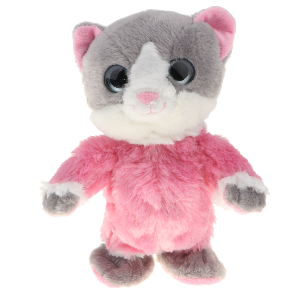 8 Inch Plush Animal Repeats What You Say Electronic Pet, Talking & Walking Kitten, Kids Interactive Toy - Pink Cat