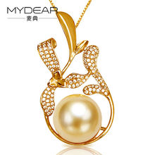 Buy MYDEAR Genuine Pearl Jewelry Women Old Fashion Real Big 13-14mm Golden South Sea Necklaces & Pendants Chains,2016 New Arrival for $909.00 in AliExpress store