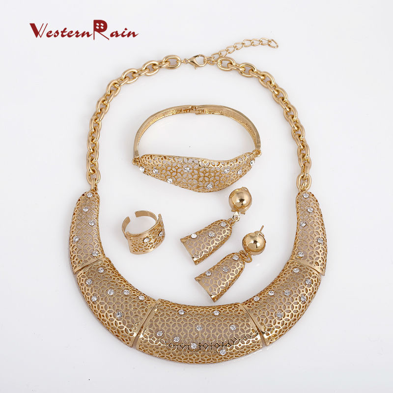 WesternRain Gold Plated African Jewelry Sets 18k Original Classic Wholesale Fashion Jewelry For Women bijouterie, Alloy jewelry<br><br>Aliexpress