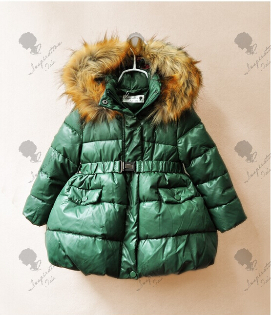 13026-105 New 2014 Winter Fashion Baby Girl Down Solid Hooded With Fur Sashes Girls Outerwear Worm Coats Kids Clothing <br><br>Aliexpress