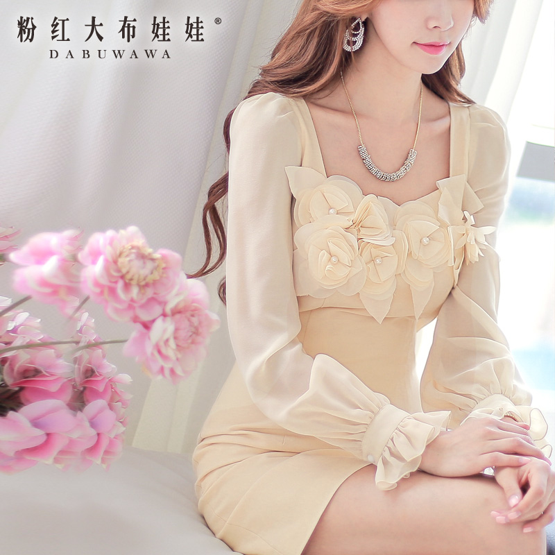 Spring dress pink doll with 2015 new flowers OL temperament self-cultivation long sleeved dress