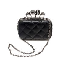new vintage Skull purse Black Skull Knuckle Rings Handbag Clutch Evening Bag The chain inclined shoulder bag js290