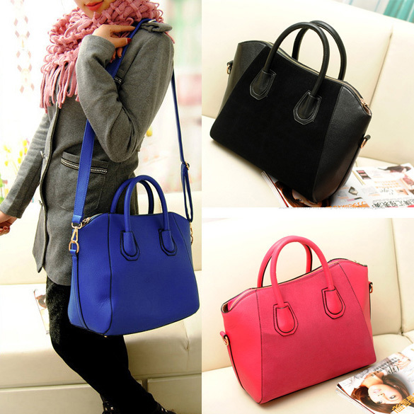 Women Handbag Fashion Shoulder Bags Tote Purse Frosted PU Leather Bag NIE