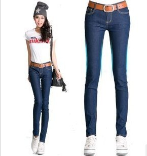 Female fashion stretch jeans Vintage high waisted pants woman 2012 XL Free Shipping