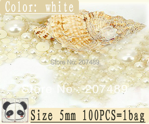 DIY white color pearl 5mm 100PCS=1bag Artificial beads for cellphone mobile phone cases scrapbook jewelry decorations