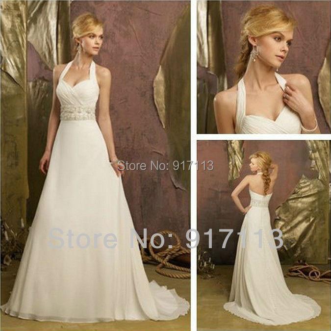 2015 new stunning ivory white halter chiffon designer for Backless wedding dresses designer