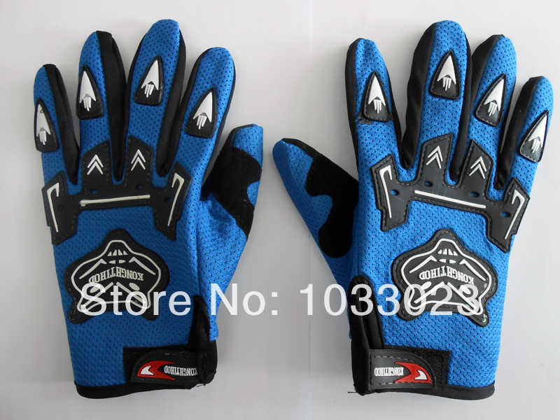 Outdoor Sports Motorcycle Riding Racing Bike Gloves Full Finger blue L 007(China (Mainland))