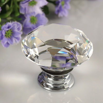 30mm Diamond Clear Crystal Glass Door Pull Drawer Knob Handle Cabinet Furniture(China (Mainland))