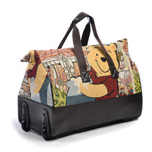 Limited Women and Men Ultra Light Large Capacity Cartoon Travel Bags Folding Draw Bar Box Trolley Travelling Bags(China (Mainland))