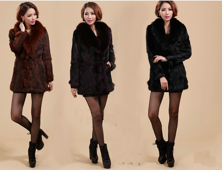Women's Winter Warm Caramel Purple Black Fox Fur Collar Rabbit Belt Coats Jackets Outerwear PC0040 - worldfashiongallery store