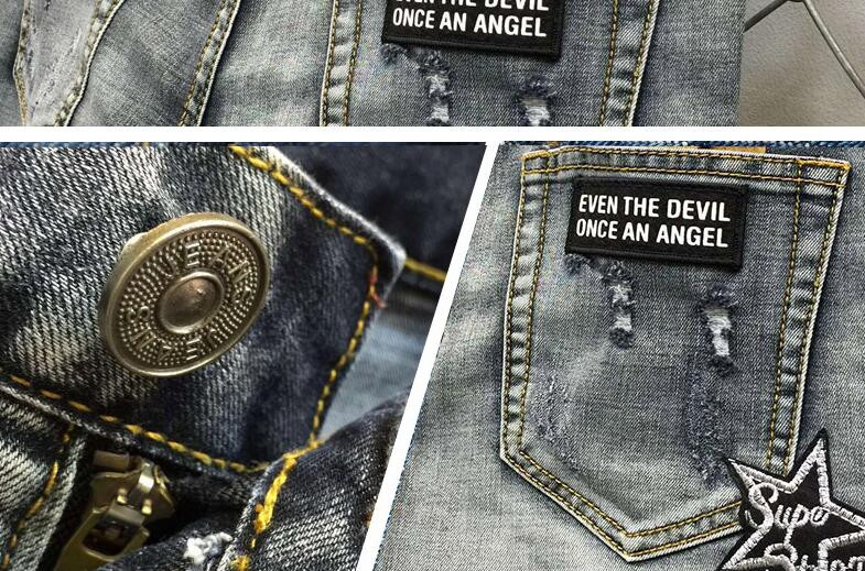 Скидки на Серый 2016 весна лето тонкий Frazzle Череп значок вышивки джинсы мужские тонкие эластичные брюки джинсы мужские ноги брюки мужская одежда