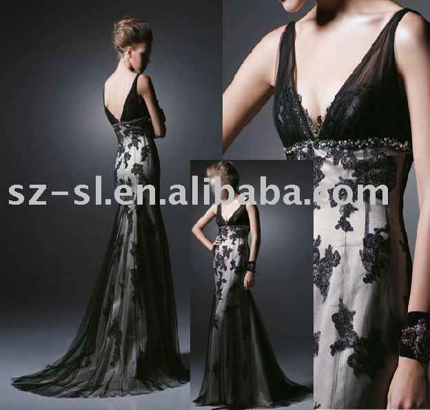 .com : Buy Prom evening dress black lace sl 462 from Reliable lace ...