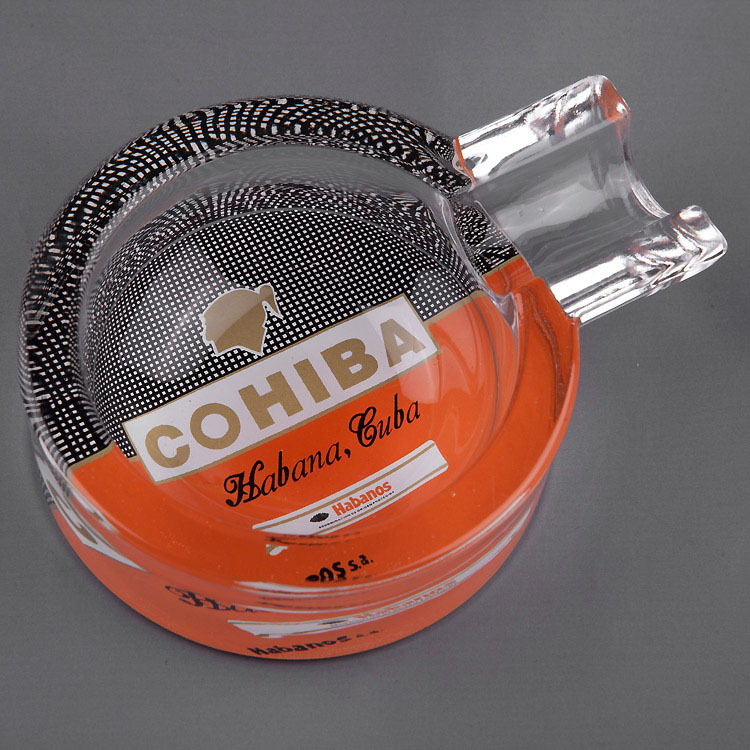 Cohiba Clear Portable Gadgets Transparent Crystal MINI Fine Cuban Glass Travel Cigar Ashtray with Nice Gift Box Packing(China (Mainland))