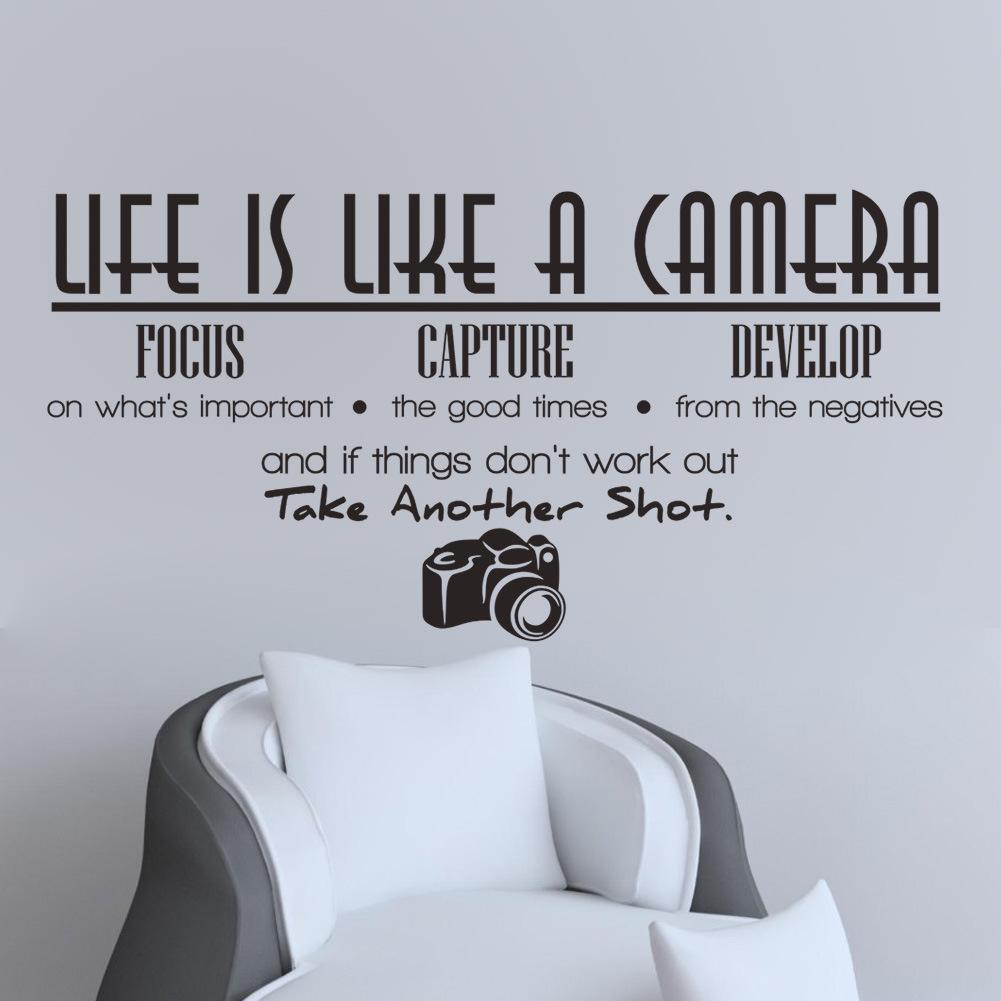 2015 new life is like a camera proverb Abstract focus capture develop poetry living room sofa background wall sticker(China (Mainland))