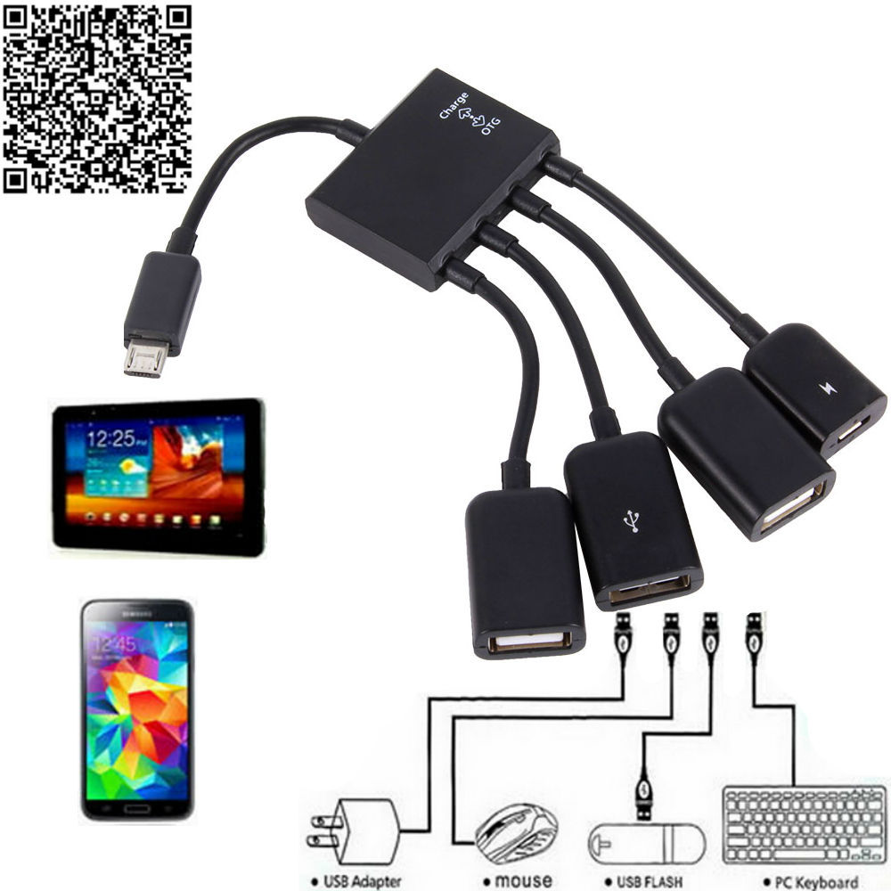 Free Ship OTG Hub Cable Connector Spliter 4 Port Micro USB Power Charging Charger For Smartphone Computer Tablet PC High Quality(China (Mainland))