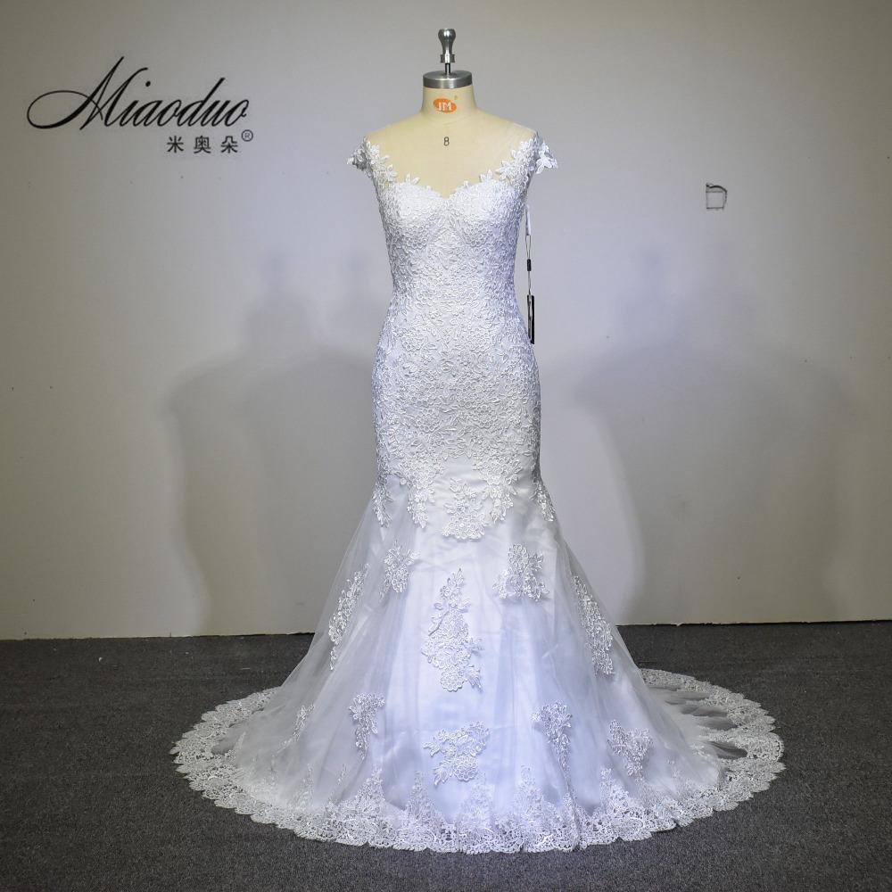 Cheap Price Wedding Dress 2017 Mermaid Wedding Dresses Chapel Train Lace Vestido De Noiva Elegant V Neck Bridal Gown Zipper Back(China (Mainland))