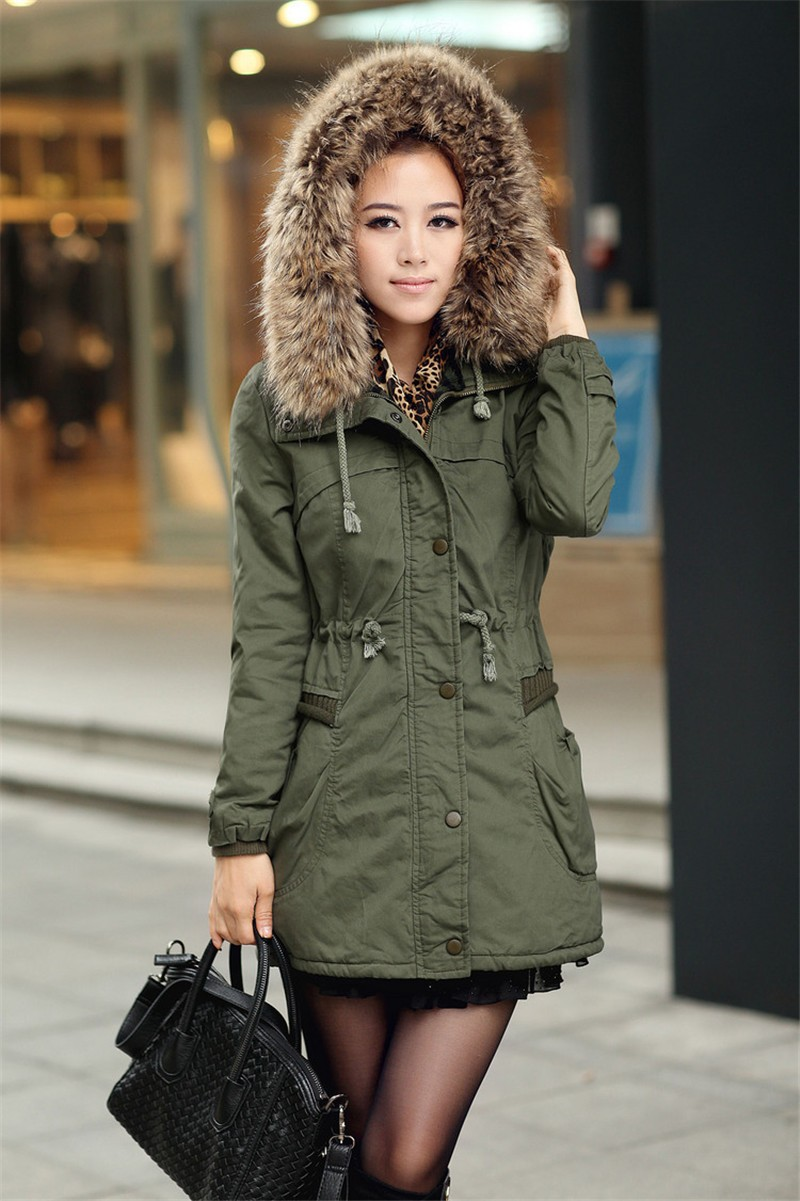 2016 women's parkas army green & Black  high quality winter jacket coat  Large fur collar hooded woman outwear parkas TOP