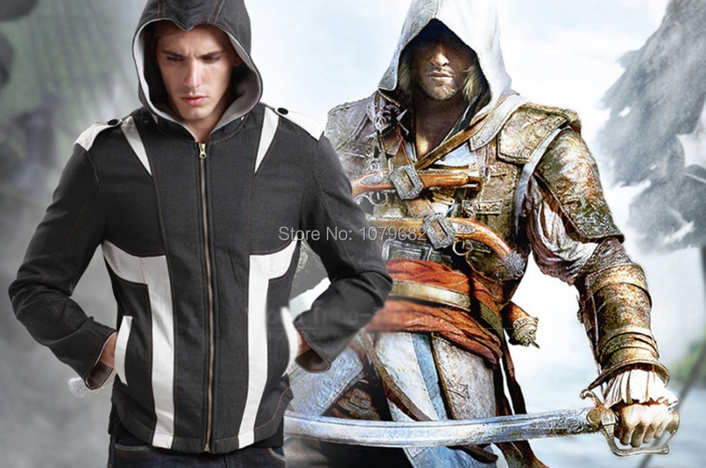 New style Assassins Creed III Denim Hoodie Costume Jacket Coat Connor Kenway Hoody  cospla y Daily Use