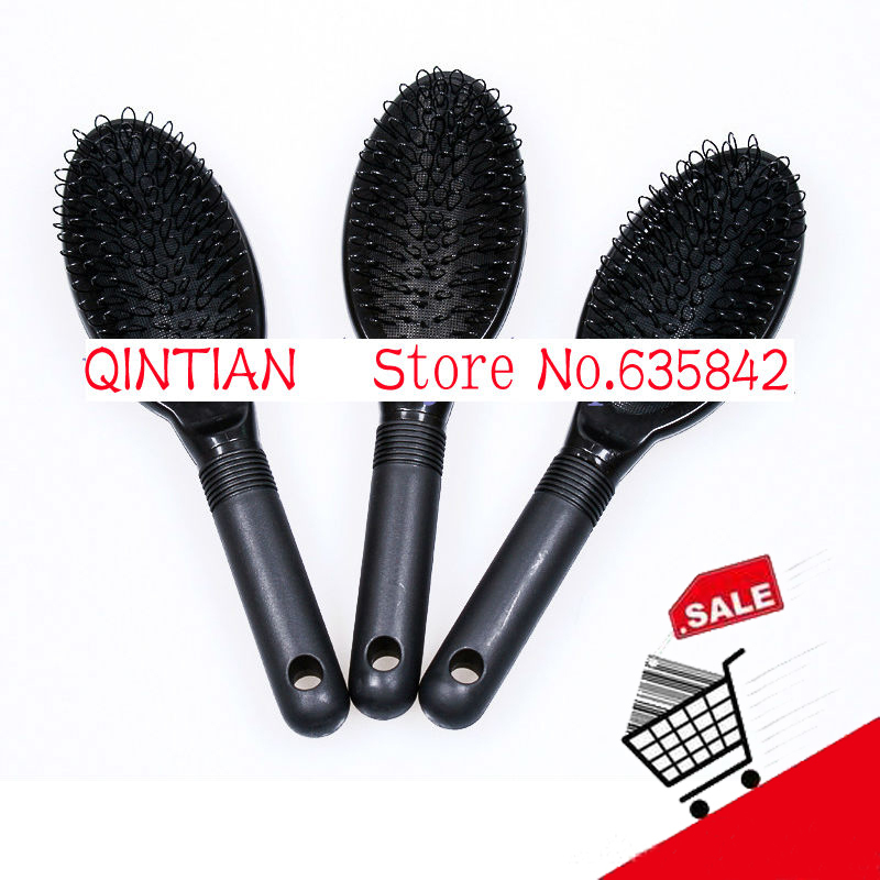 wholesale 5pcs anti-static black color Loop brush/ Hair brush/comb for human hair extensions or wigs/ beauty salon tools(China (Mainland))