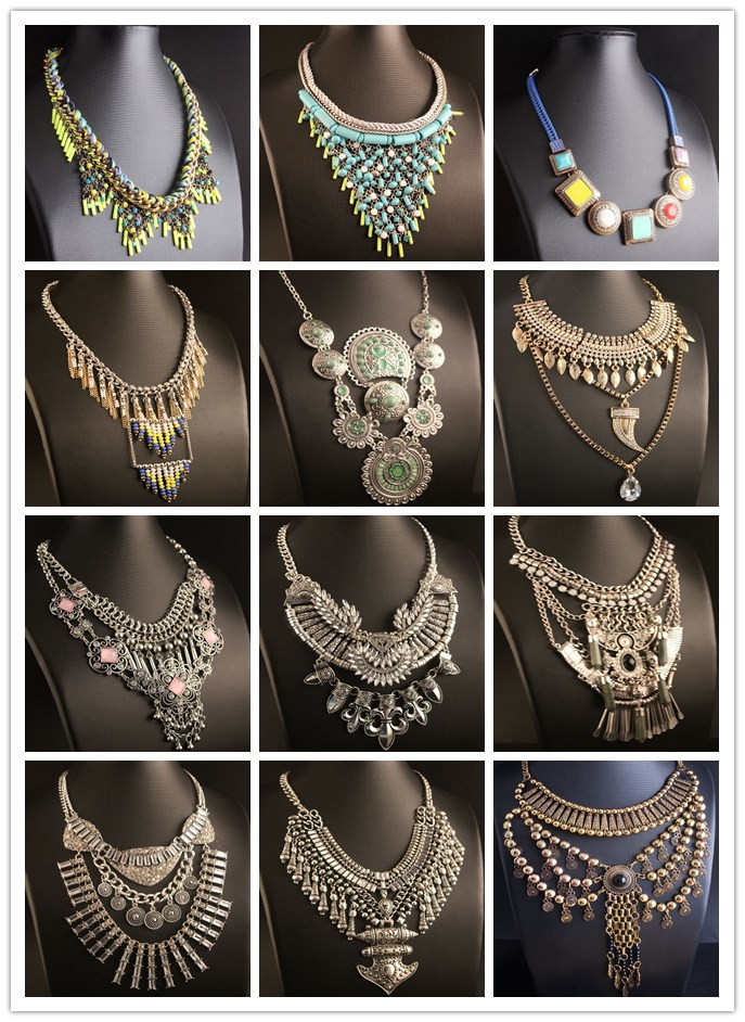 New 2015 Heavy metal chain fashion necklace collar chunky choker pendant statement necklace Necklaces & pendant Mixed style(China (Mainland))