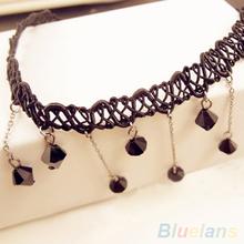 Women Black Beads Pendant Crystal Bib Chain Jewelry Collar Choker Necklace 1PYL