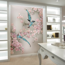 Customized murals wallpaper 3d Chinese flower and bird magpie non woven wall paper 1x3m(China (Mainland))