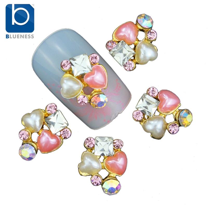 Blueness Acrylic Heart Beads Jewelry Nail Art Decoration 10pcs/lot 3D Adhesive Gems Crystal Rhinestones for Nails Arts TN1103(China (Mainland))