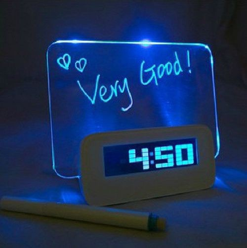 2015 Hot Sale LED Fluorescent Message Board Digital Alarm Clock Calendar Night Light Modem LED Alarm Backlight Drop Shipping(China (Mainland))