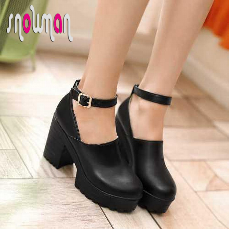 Brand new 2015 high thick heels platform ankle strap mary jane pumps skidproof sole shoes glaidtor
