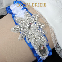 Free Shipping Rhinestone Appliqued Bridal Garter Royal Blue Tossing Garter Wedding Accessories