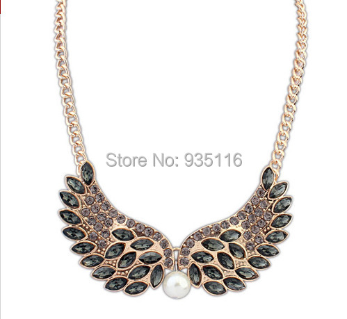 4 Colors New 2014 Fashion Angle Wings Love Women Leopard Chain Necklaces & Pendants Choker Necklace Women(China (Mainland))