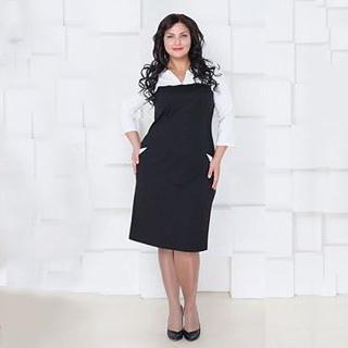 2015 новый офис дамы стиль с длинным рукавом сексуальный v-образным вырезом сплошной прямо работа вечернее платье 5xl, 6XL Большой размер женщины