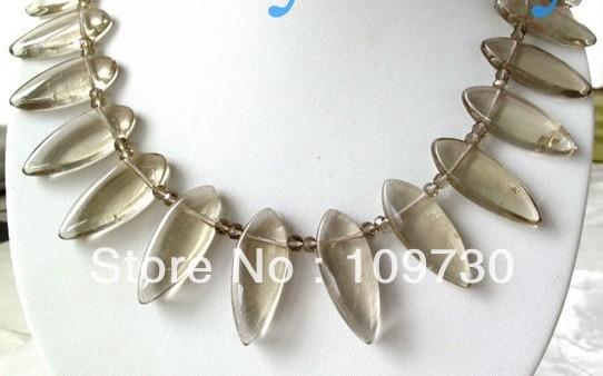 Jewelry 0012525 20mm Leaf Smoky Quartz Crystal Necklace 14K GP(China (Mainland))