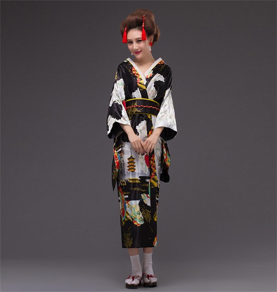 New Arrival Black Vintage Japanese Womens Dress Silk Yukata Kimono with Obi One size Free ShippingОдежда и ак�е��уары<br><br><br>Aliexpress