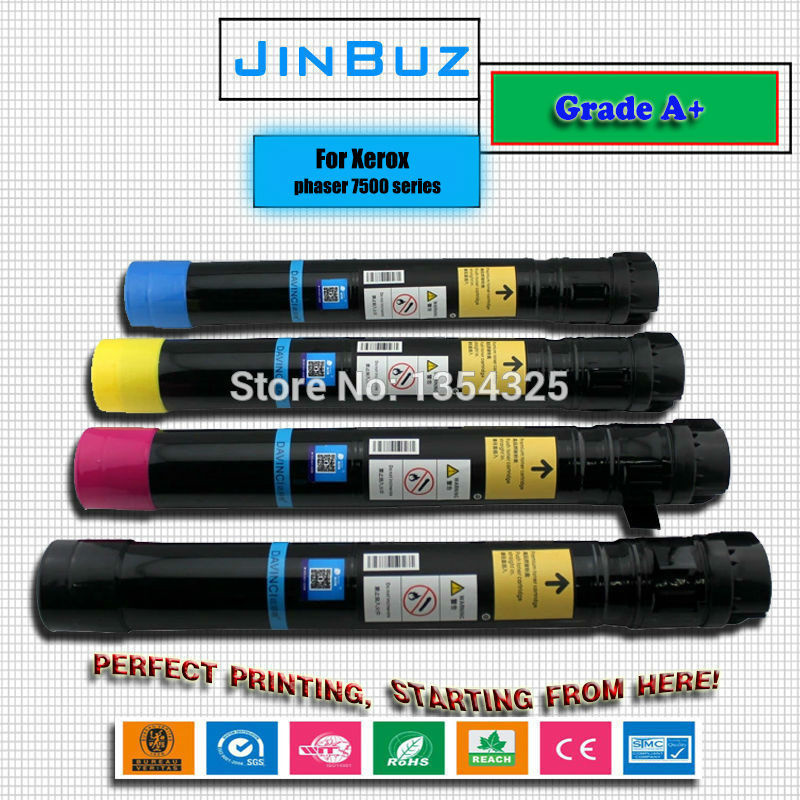 4pcs Lot color toner cartridge For Xerox Phaser 7500 7500DN 7500DT 7500DX 7500N toner Compatible Grade