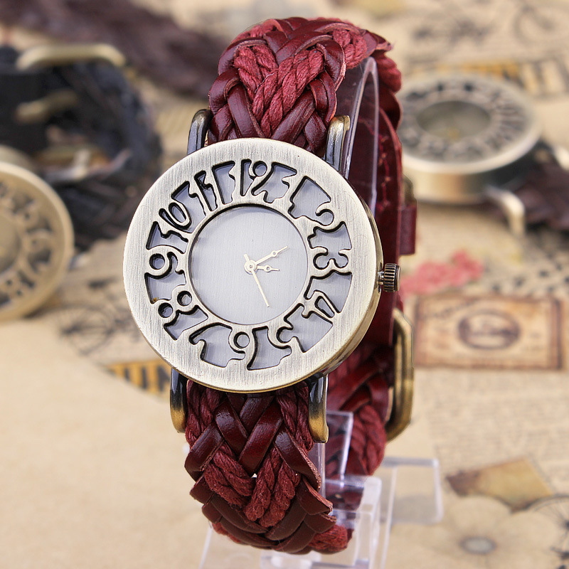New Roma Style vintage Digital hollow out Genuine Cow hand woven Leather strap watches women font