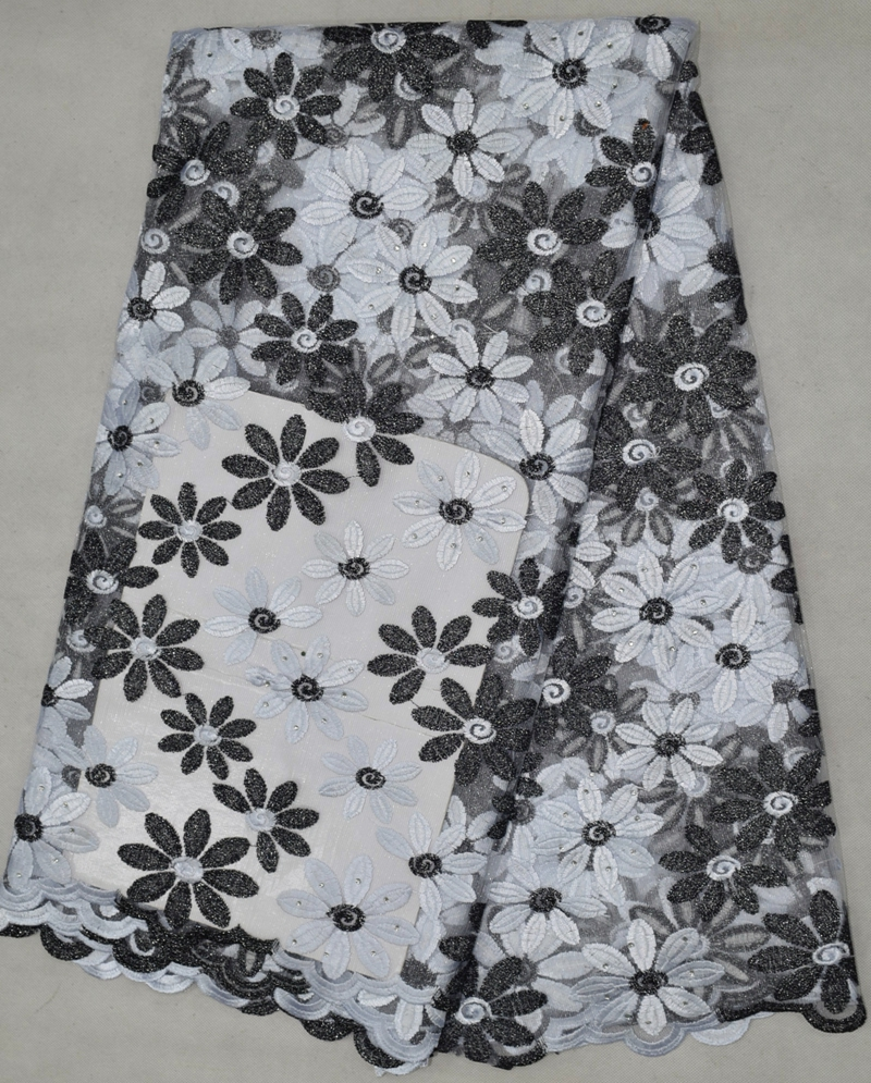 2016 big sale black and white Embroidered design tulle African lace fabric for sewing Fast Delivery high quality french lace(China (Mainland))