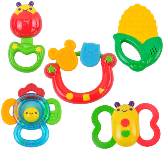 Obbe toys teethers rattles, 5 set gift box baby toy baby toy 0-1 year old